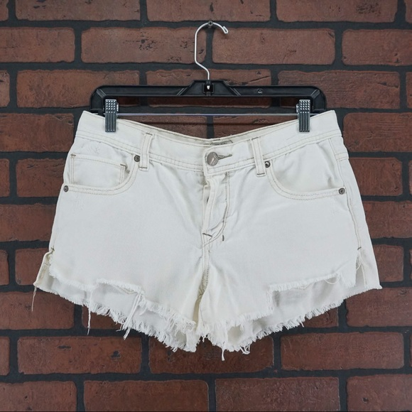 Free People Pants - FREE PEOPLE White Button Fly Fray Hem Cutoffs 27